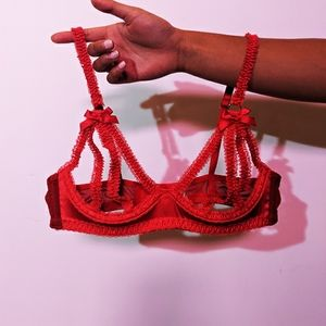 Satin cupless bra, red